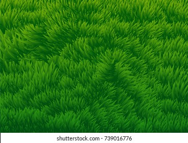 Abstract Background of Green Grassy Field - Background Vector Illustration