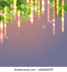 Abstract background with green leaves and glowing lights. Hanging Branches and Lights.