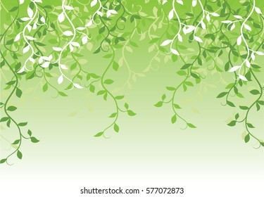 abstract background with green leaves and vine.