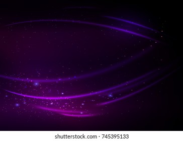 Abstract background with green magic lights. Gold glittering star dust with bokeh effect. Vector illustration