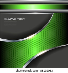 Abstract background with green metallic banner.