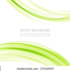 Abstract background with green transparent wavy lines.