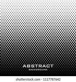 Abstract background with halftone pattern in black and white colors. Gradient texture with square elements ornament. Design template of flyer, banner, cover, poster. Vector illustration.