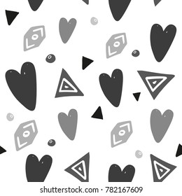 Abstract background with hand drawn hearts and design elements. Seamless background for Valentine's Day