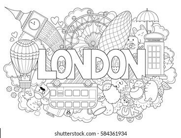 Abstract background with hand drawn text London. Hand lettering. Template for advertising, postcards, banner, web design, printing on clothes. Set of cartoon characters. Line art detailed
