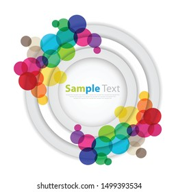 The abstract background has space for the text, the center of which has overlapping white and gray circles around them. With circles of many colors - vector