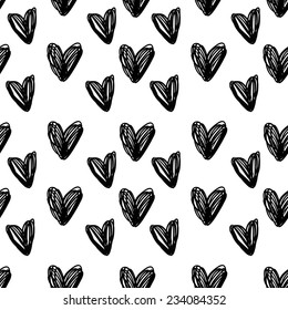 Abstract background is in the hearts. Drawing freehand pencil style. vector