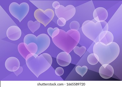 abstract background with hearts on the background blue geometric triangles