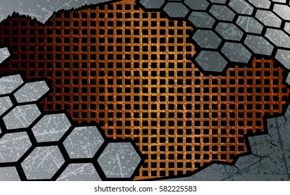 Abstract  background. Hexagon design template. Vector and illustration.