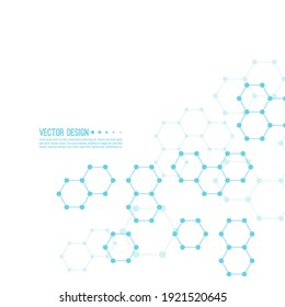 Abstract background of hexagonal molecular structure. The concept of innovative healthcare, biotechnology, nanotechnology. Illustration with chemical and genetic compounds.