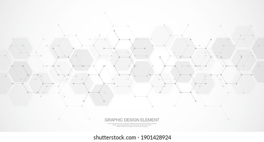Abstract background of hexagons pattern and chemical engineering, genetic research, molecular structure. Vector illustration for innovation technology concept, science, healthcare, and medicine design