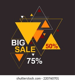 Abstract background with hipster triangles pattern.Big sale 50, 75 percent. Seasonal discounts and hot deals. Clearance.
