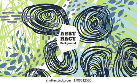 Abstract background illustration. Colorful lines, spots and dots. Decorative wallpaper, backdrop. Hand drawn texture, decor elements and shapes. Eps10 vector.