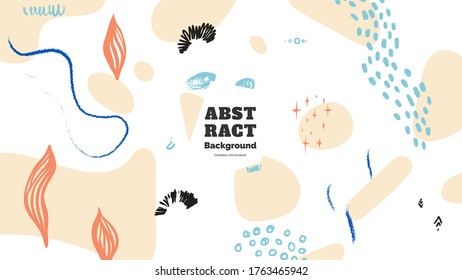 Abstract background illustration. Colorful lines, spots, dots and paint strokes. Decorative chaotic wallpaper, backdrop. Hand drawn texture, decor elements and shapes. Eps10 vector.