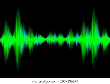Abstract background image of electric sound waves. Minimal sound waves background. Green and bright blue sound waves with blackbackground created in modern technology days.