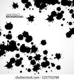 Abstract background with ink blots. Black drops. Vector design