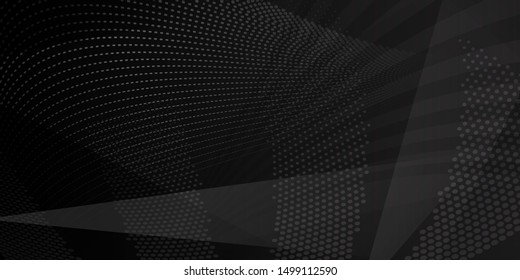 Abstract background of intersecting lines, polygons and dots in black colors