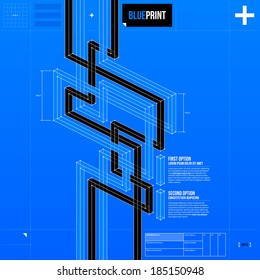 Abstract background with isometric stripes in blueprint style. EPS10