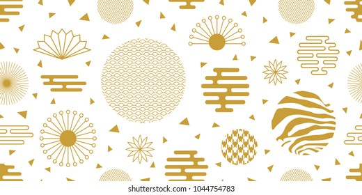Abstract background with Japanese art motifs. Seamless white and golden pattern with flowers, fans, ornate circles and other geometric elements.