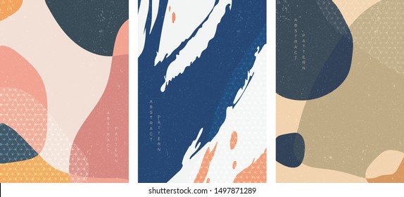 Abstract background with Japanese pattern vector. Geometric template with brush stroke elements. Painting poster design.