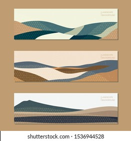 Abstract background with Japanese pattern vector. Landscape illustration with colorful geometric template. Mountain elongated format. Grunge texture.