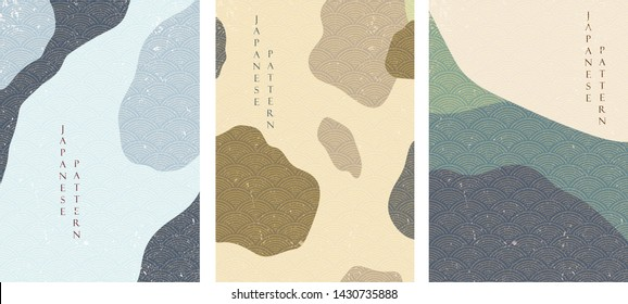 Abstract background with Japanese wave pattern vector. Landscape template. Chinese graphics in adventure concept.