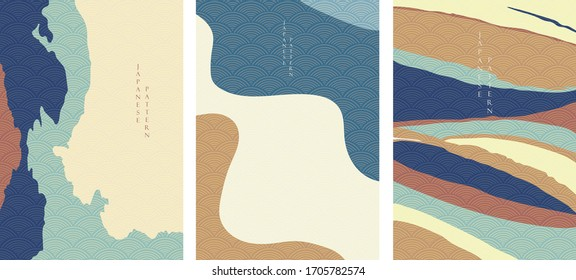 Abstract background with Japanese wave pattern vector. Curve  elements   decoration.