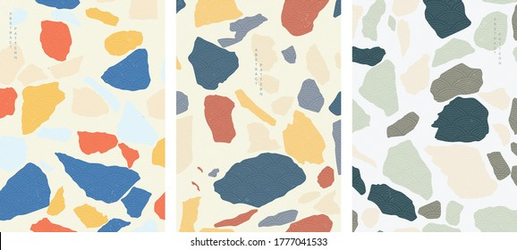 Abstract background with Japanese wave pattern vector. Natural stone and marble floor texture wallpaper.