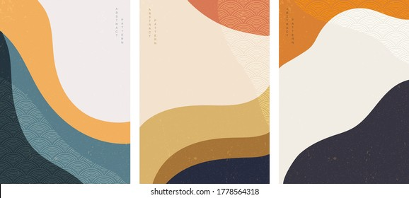 Abstract background with Japanese wave pattern vector. Desert template with Art landscape wallpaper.