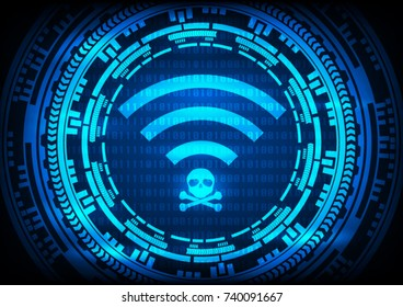 Abstract background KRACK gear technology wifi hack on WPA2 key security. Vector illustration KRACK in wifi cyber security infographic concept.