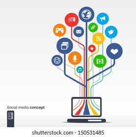 Abstract background with laptop, lines, circles and icons. Growth tree concept with social media, earth, network, computer, technology, like, mail, mobile and speech bubble icon. Vector illustration.