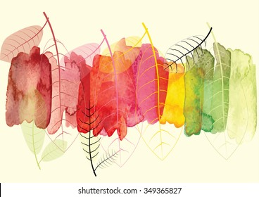 Abstract background with leaves to show season change ,vector watercolor brush design ,vector illustration ,invite card