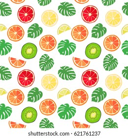 Abstract background from leaves and tropical fruits, pattern, seamless texture