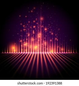 Abstract background, light column with sparks, equalizer style vector