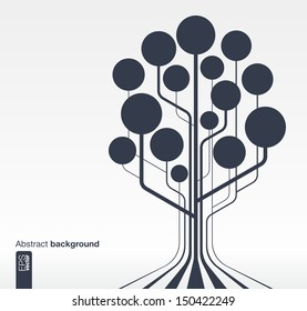 Abstract background with lines and circles. Growth tree concept for communication, business, social media, technology, network and web design. Vector illustration.