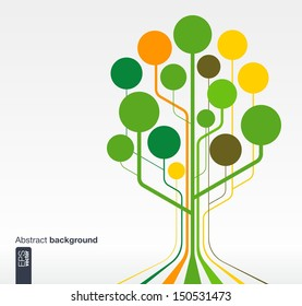 Abstract background with lines, circles and icons. Growth tree concept for communication, business, social media, technology, network and web design. Vector illustration.
