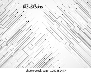 Abstract background of lines and dots. Technology geometric graphic. Vector