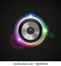 abstract background with load speaker and colored light effect, vector illustration