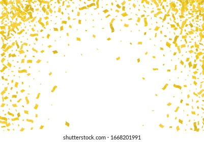 Abstract background with many falling gold tiny confetti pieces.