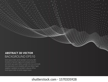 Abstract background with many particles. Optical illusion of movement. Technological design. Stock vector illustration.
