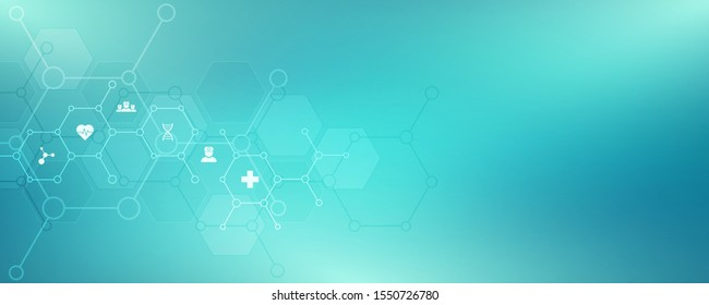 Abstract background of medicine with flat icons and symbols. Template design with concept and idea for healthcare technology, innovation medicine, health, science and research. Vector illustration
