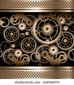Abstract background metallic with cogs and gears, vector.
