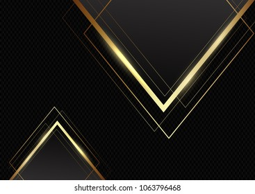 Abstract background with metallic gold triangles on carbon fibre texture