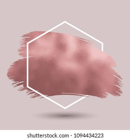 abstract background with metallic rose gold texture in hexagonal frame