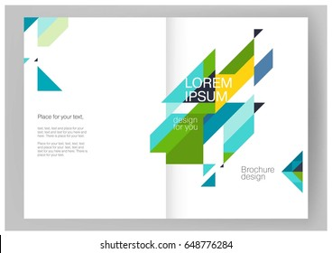 Abstract background Minimalistic Brochure / catalog. Summer colors: blue, yellow & green. Booklet, annual report cover template. modern Geometric Diagonal triangles & lines. vector-stock illustration