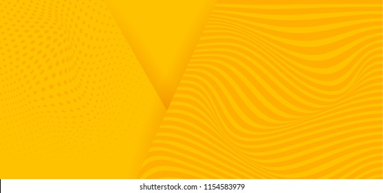 Abstract background modern hipster futuristic graphic with illusion. Yellow background with the illusion of waves texture. Vector illustration.