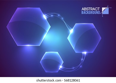 Abstract background with modern virtual interface empty hexagon shaped elements conected with curvy luminescent lines vector illustration