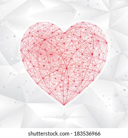 Abstract background of molecular heart shape.