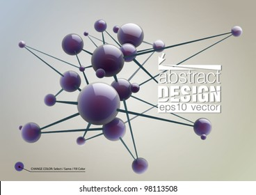 Abstract background with molecules spheres reflective surface. Vector illustration