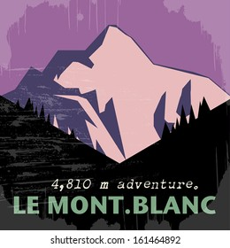 Abstract background with the Mont Blanc, highest mountain in the Alps, vector illustration
